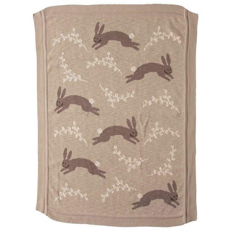 "40""L x 32""w Cotton Knit Bunny Blanket"