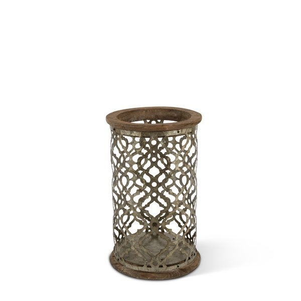 Metal and Wood Cylindrical lantern