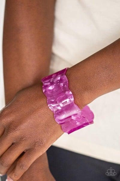 Retro Ruffle - Purple Acrylic Cuff