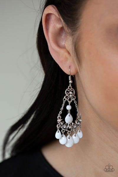 Malibu Sunset - White Earrings