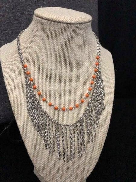 Fierce In Fringe - Orange Necklace