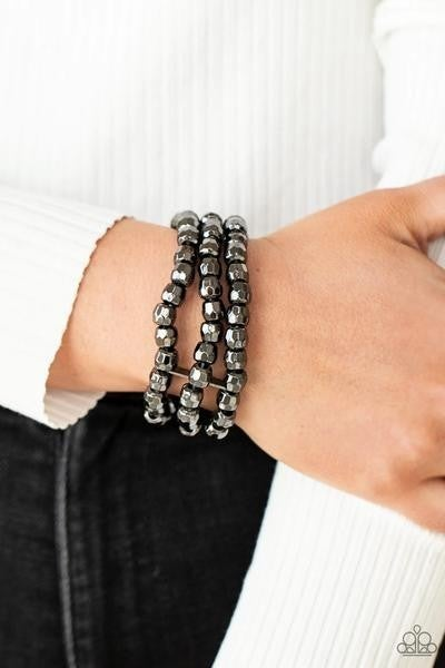 Magnetically Maven - Gunmetal Stretchy Bracelet