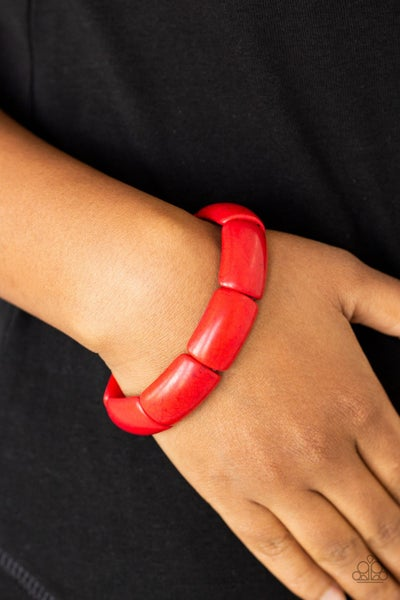 Peace Out - Red Stretchy Bracelet