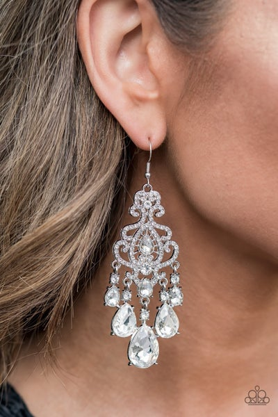 Queen Of All Things Sparkly - White Earrings