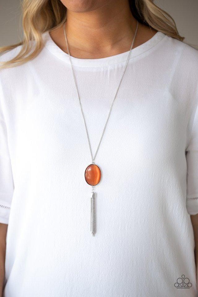 Tasseled Tranquility - Orange Necklace