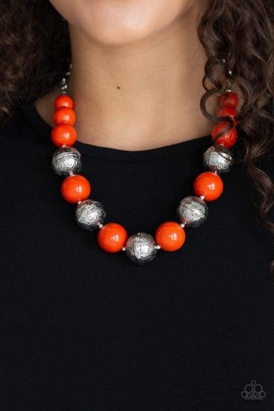 Floral Fusion - Orange Necklace