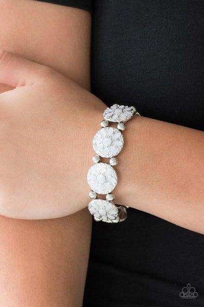 Dancing Dahlias - White Stretchy Bracelet