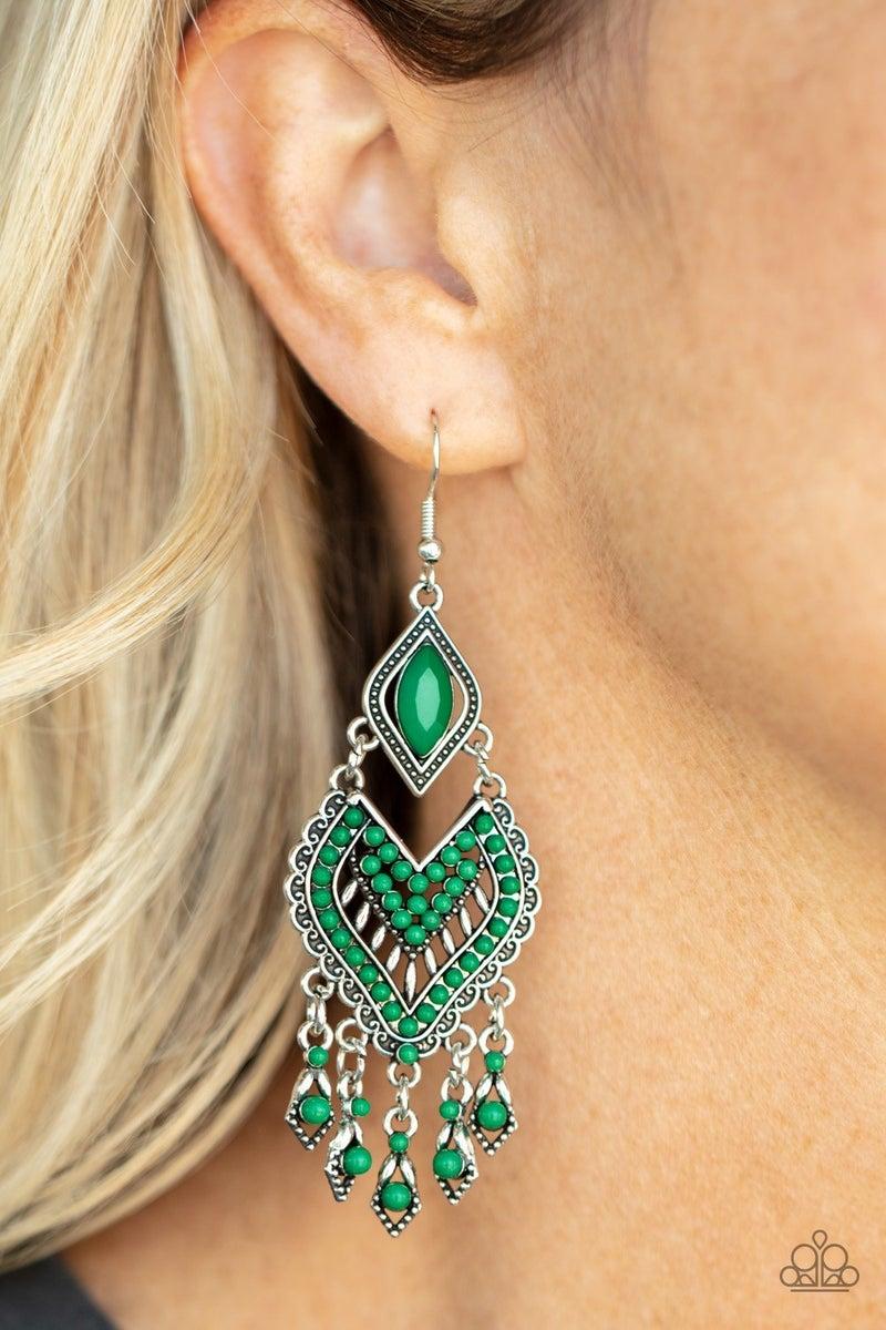 Dearly Debonair - Green Earrings