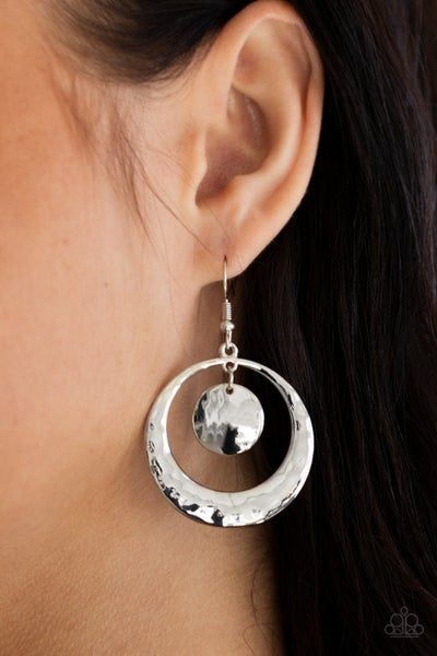 Rounded Radiance - Silver Earrings
