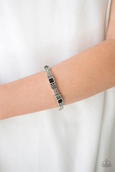 Totally Traveler - Black Stretchy Bracelet