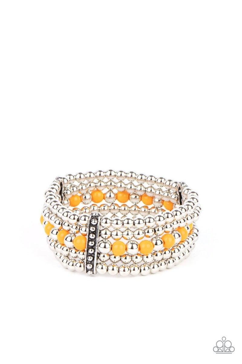 Gloss Over the Details - Orange Stretchy Bracelet