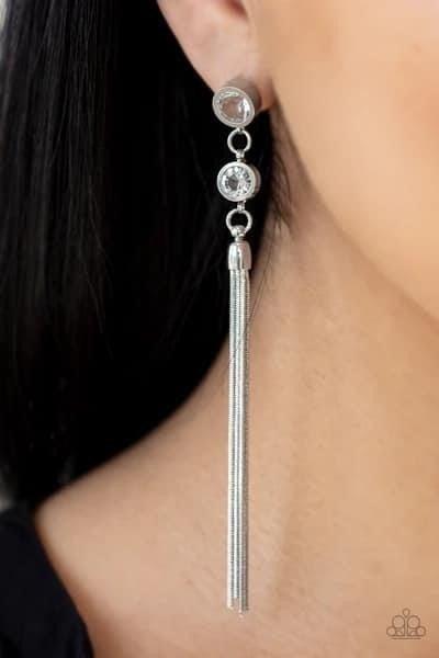 Tassel Twinkle - White Earrings