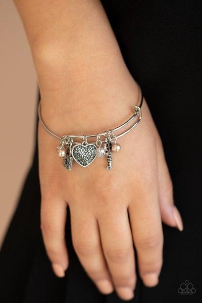 Here Comes Cupid - Brown Hinged Bracelet