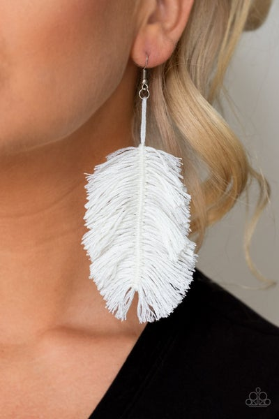 Hanging by a Thread - White Earrings