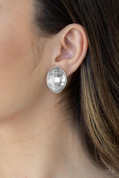 Movie Star Sparkle - White Earrings