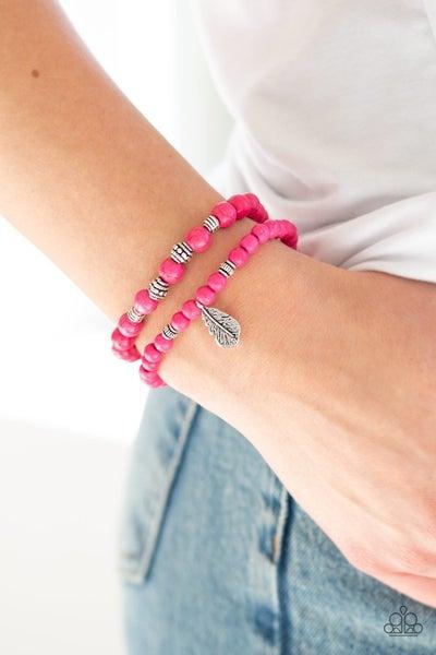 Desert Dove- Pink Stretchy Bracelet