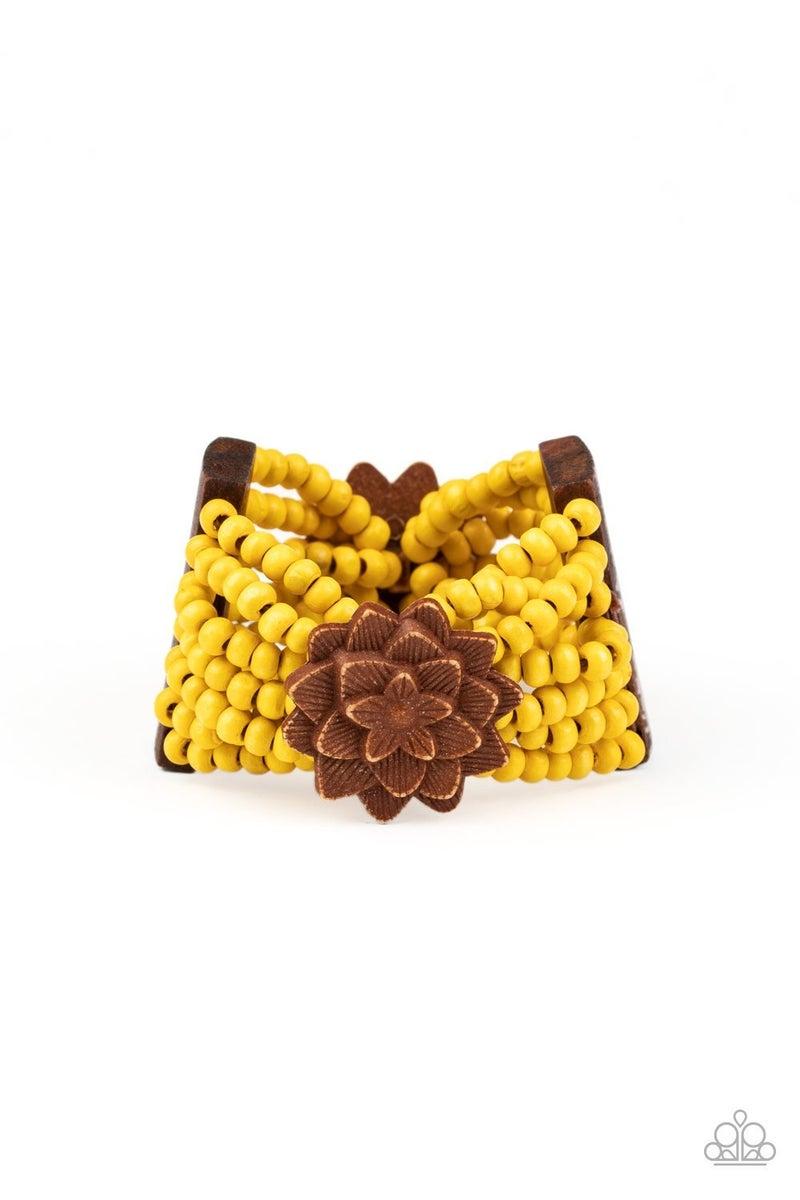Tropical Sanctuary - Yellow Stretchy Bracelet