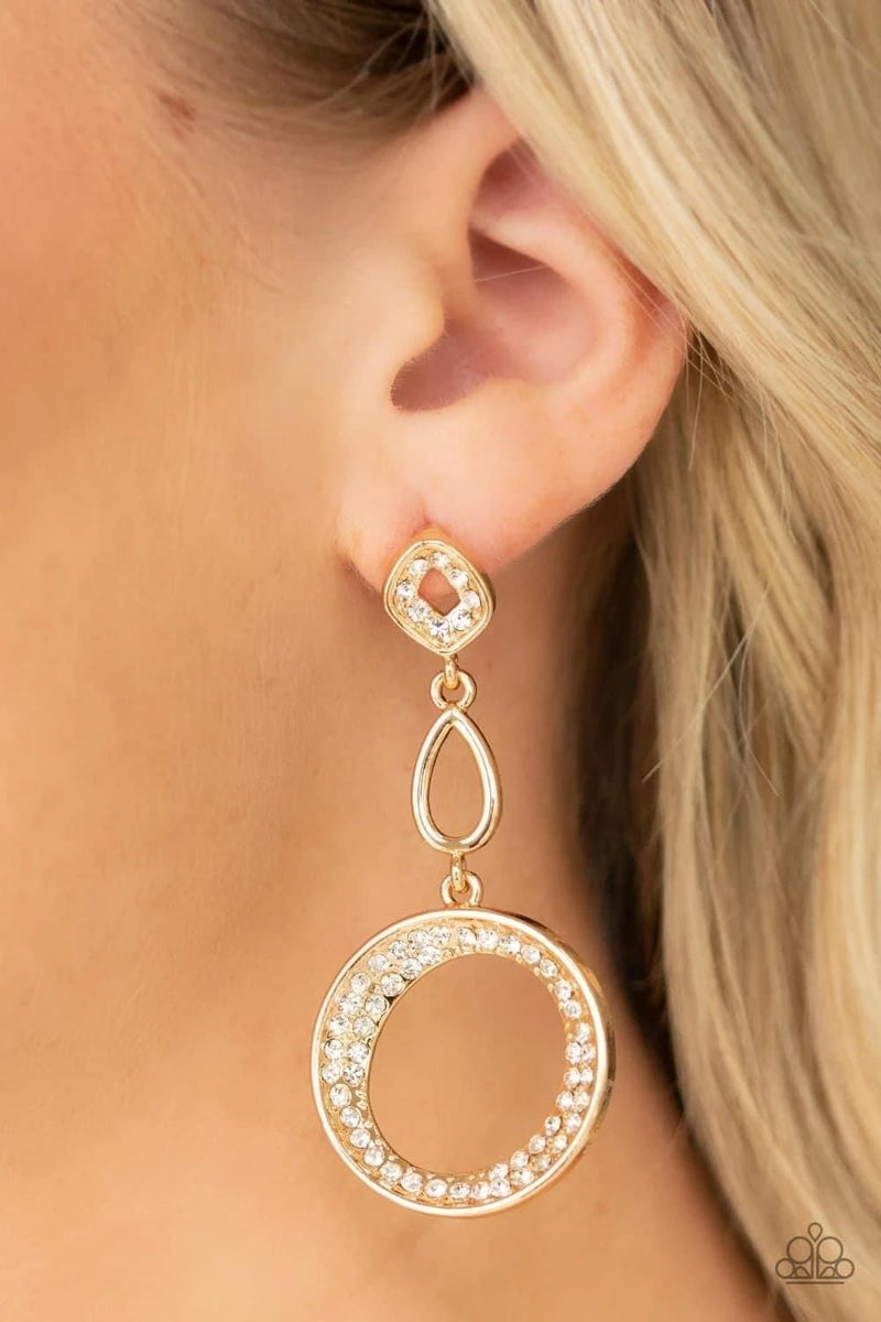 On The Glamour Scene - Gold Earrings