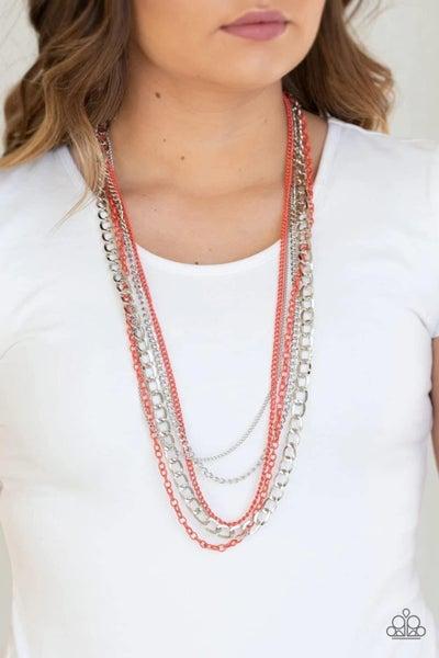 Industrial Vibrance - Orange Necklace