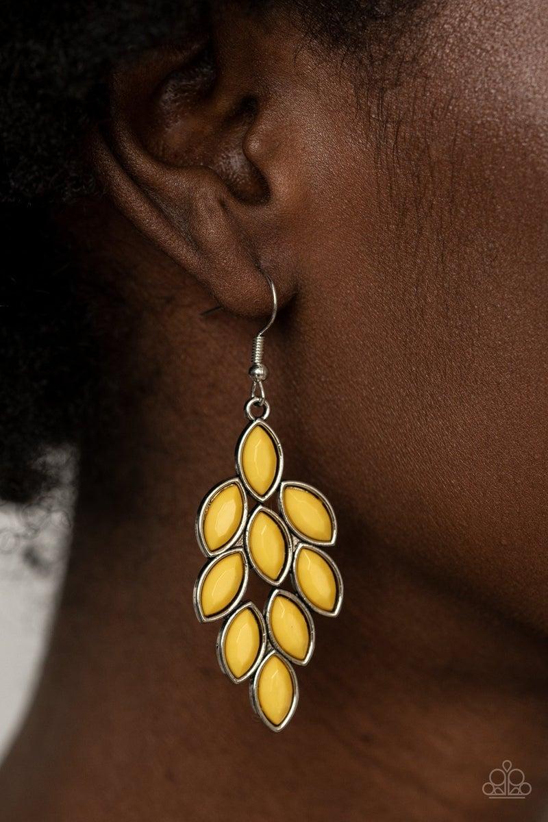 Flamboyant Foliage - Yellow Earrings