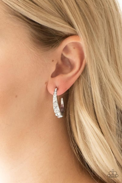 Welcome to Glam Town - White Hoop Earrings