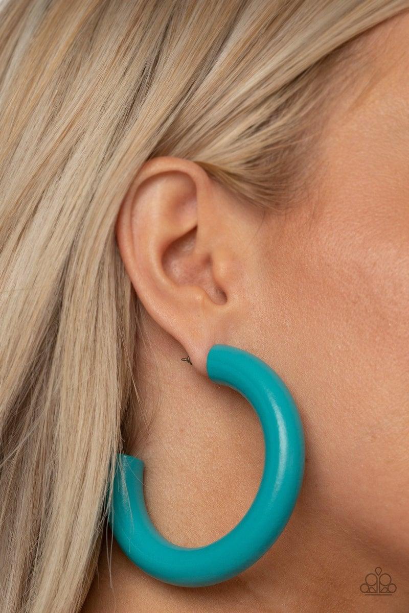 I WOOD Walk 500 Miles - Blue Hoop Earrings