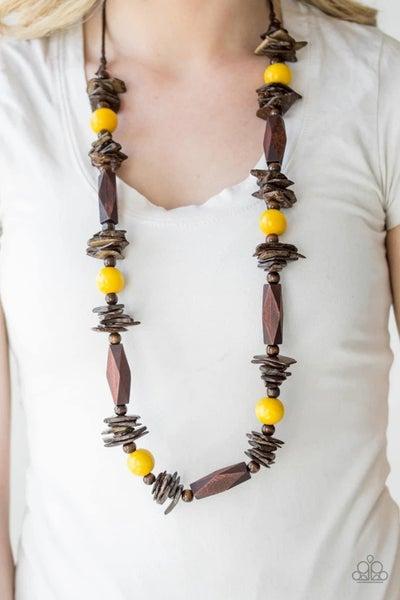 Cozumel Coast - Yellow Wooden Necklace