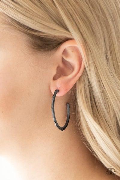 Danger Zone - Gunmetal Hoop Earrings
