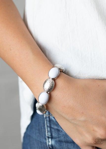 Decadently Dewy - White Stretchy Bracelet