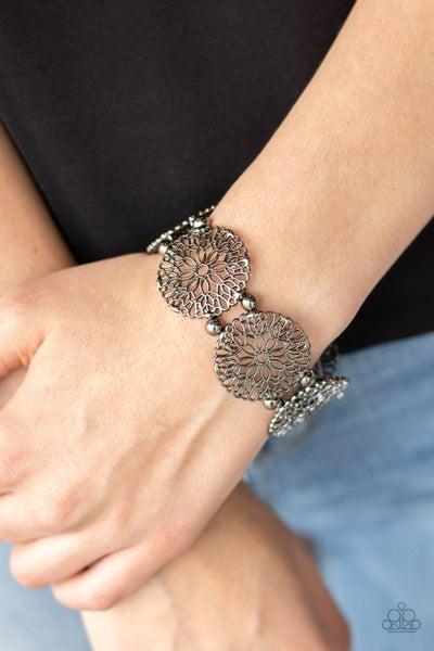 A Good MANDALA Is Hard To Find - Gunmetal Stretchy Bracelet