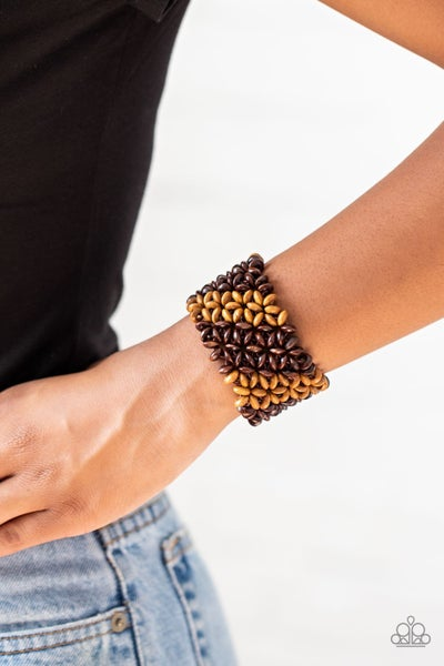 Island Expression - Brown Stretchy Bracelet