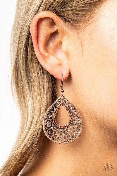 Airy Applique - Copper Earrings