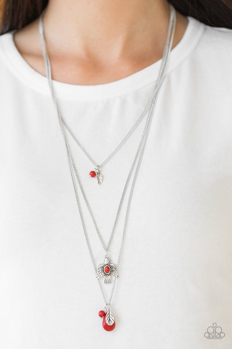 Soar With The Eagles - Red Necklace