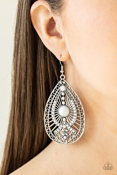 Just Dropping By - White Earrings