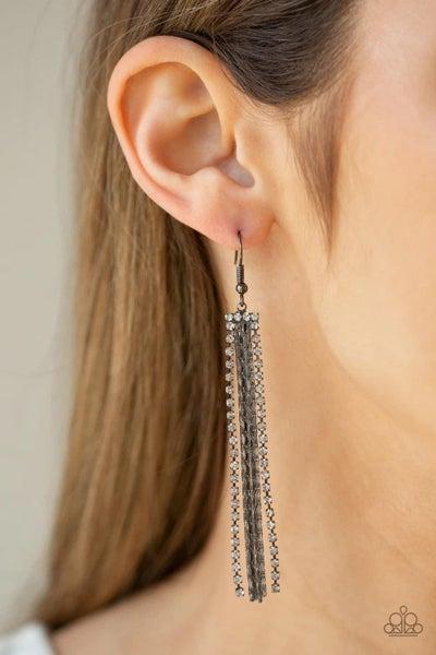 Starlit Tassels - Gunmetal Earrings