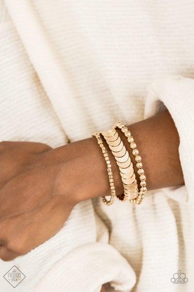 Layer it On Me - Gold Stretchy Bracelet - July 2020 Fashion Fix