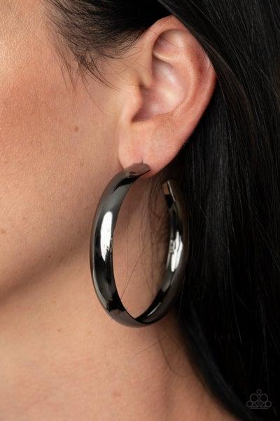 BEVEL In It - Gunmetal Hoop Earrings