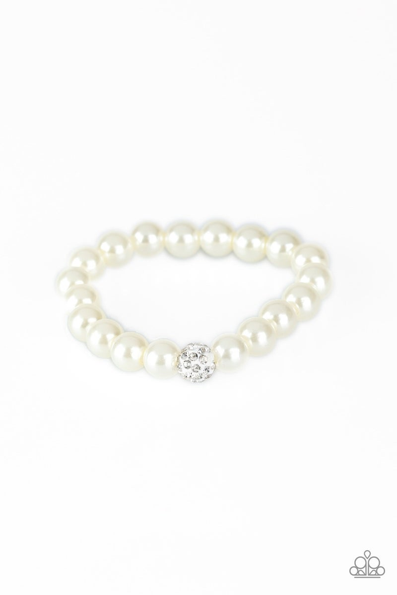 POSHing Your Luck - White Stretchy Bracelet