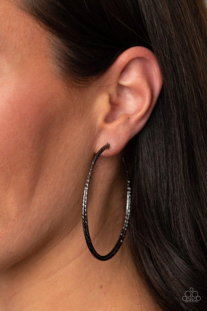 Curved Couture - Gunmetal Hoop Earrings
