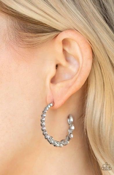 Prime Time Princess - White Hoop Earrings