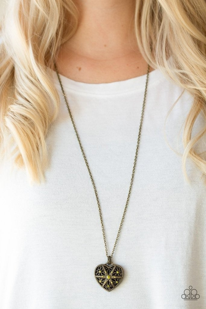 Casanova Charm - Green/Brass Necklace