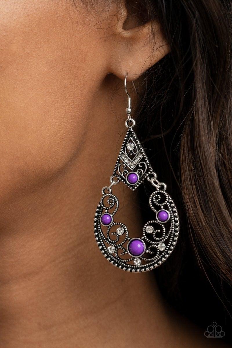 Bohemian Ball - Purple Earrings