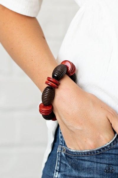 Caribbean Castaway - Red Stretchy Bracelet