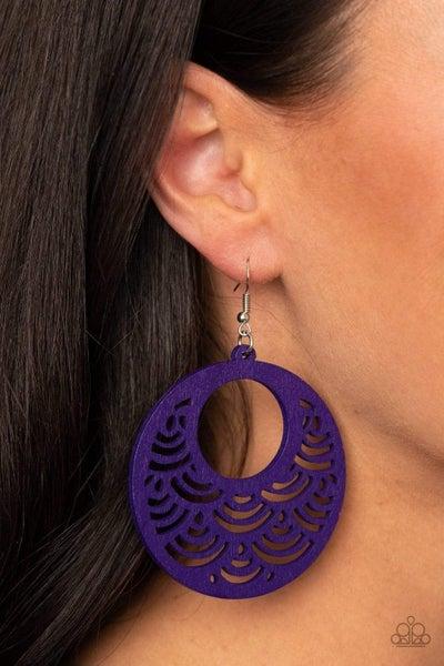 SEA Le Vie! - Purple Wooden Earrings