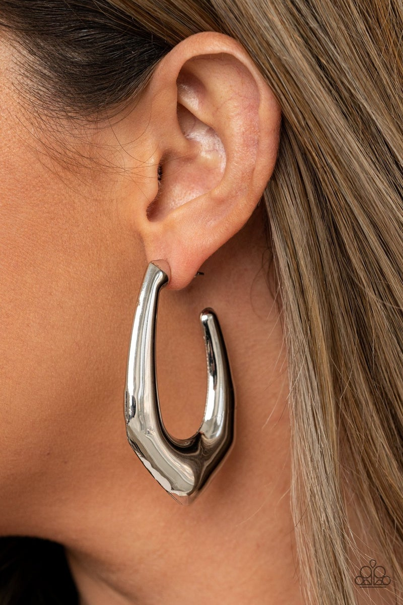 Find Your Anchor - Silver Hoop Earrings