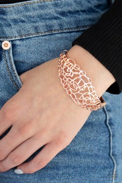 Airy Asymmetry - Rose Gold Hinged Bracelet