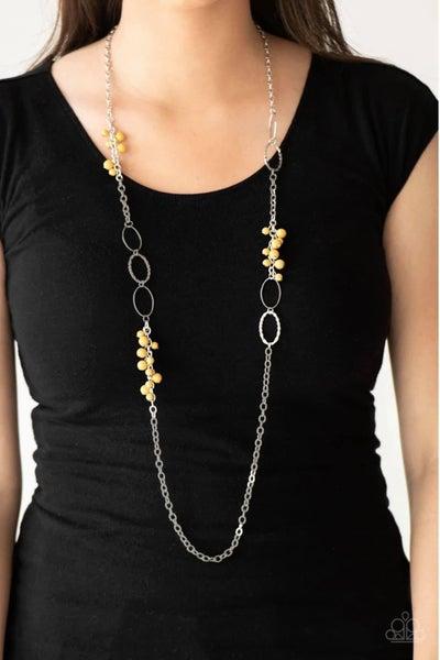 Flirty Foxtrot - Yellow Necklace