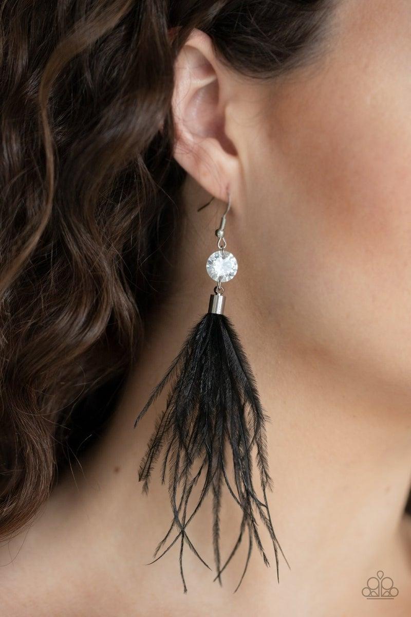Feathered Flamboyance - Black Earrings