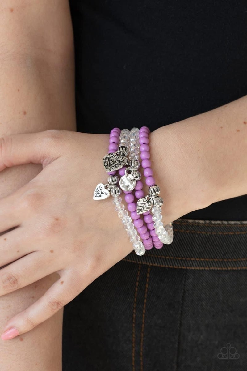 Colorfully Cupid - Purple Stretchy Bracelet