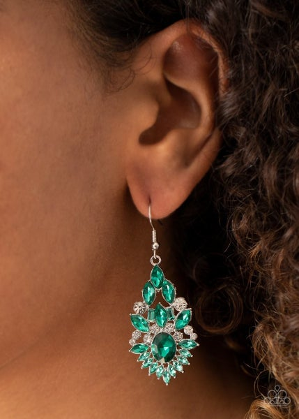 Ice Castle Couture - Green Earrings